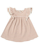 Little quincy mae baby girl flutter dress in rust stripe