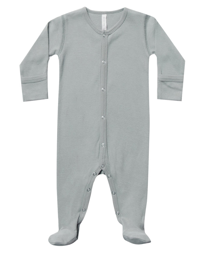 Little quincy mae baby girl full snap footie in dusty blue