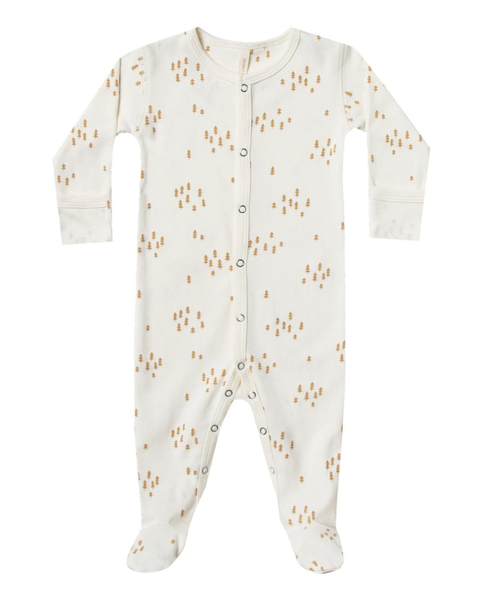 Little quincy mae baby girl full snap footie in ivory