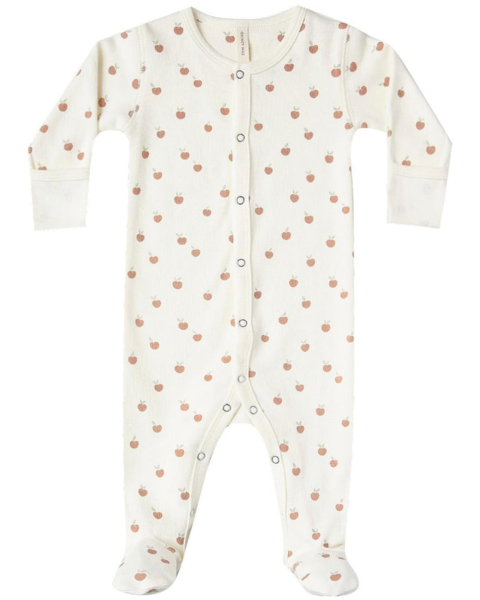 Little quincy mae baby girl full snap footie in ivory + peach