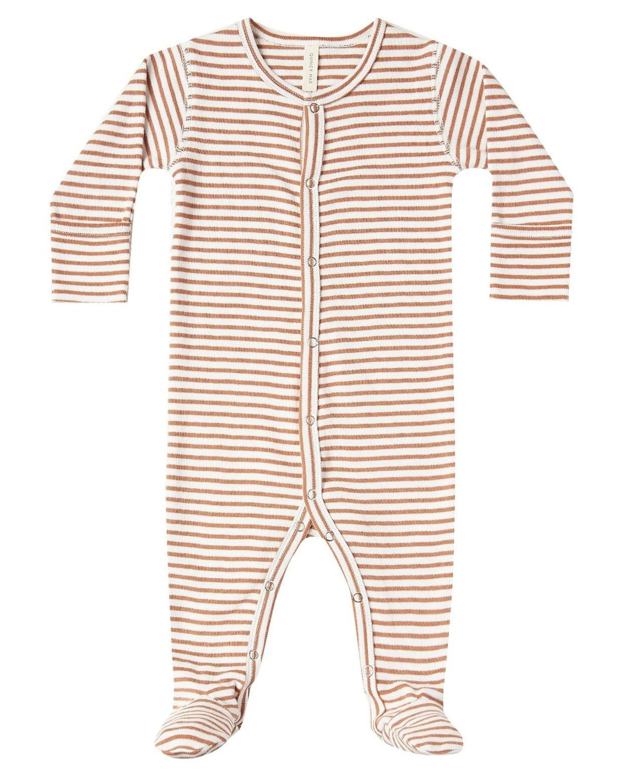 Little quincy mae baby girl full snap footie in rust stripe
