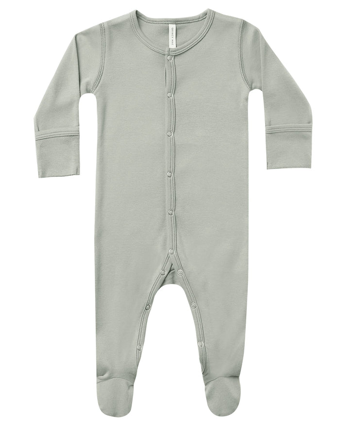 Little quincy mae baby girl full snap footie in sage