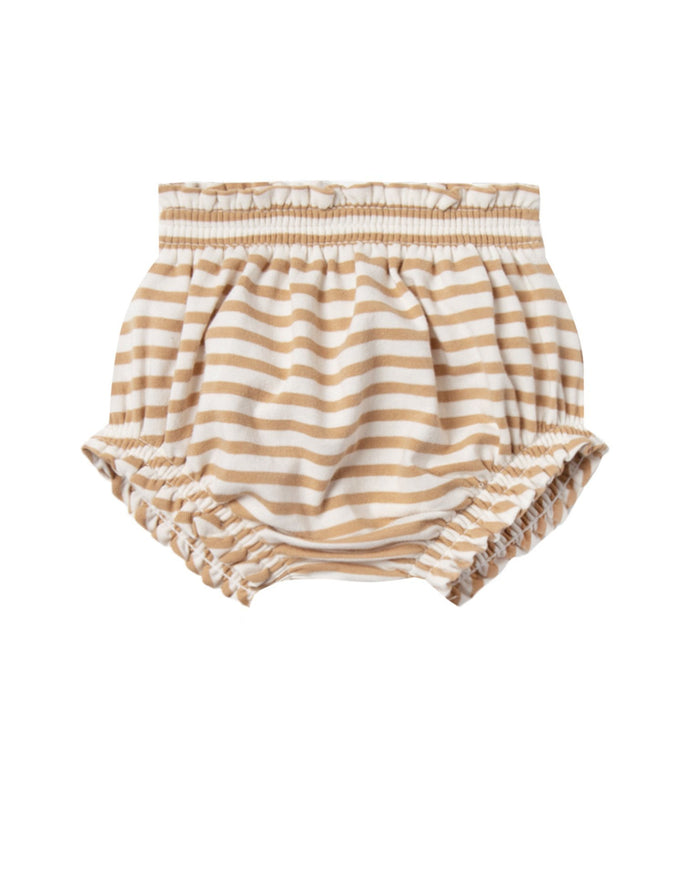 Little quincy mae baby girl gathered bloomer in honey stripe