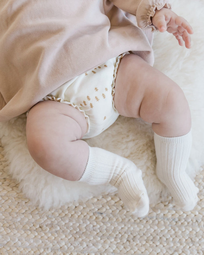Little quincy mae baby girl gathered bloomer in ivory