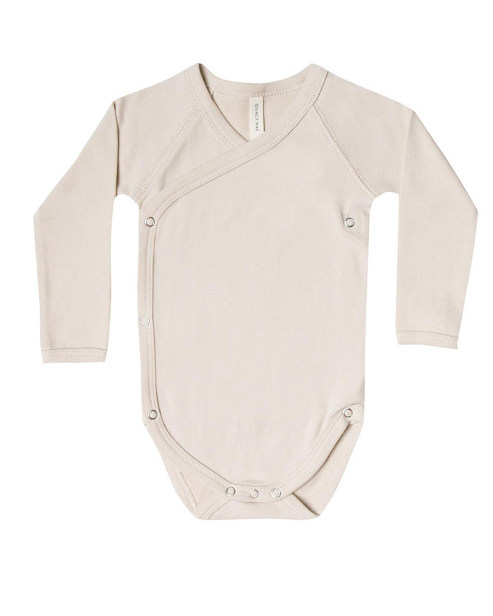 Little quincy mae layette 0-3 kimono onesie in bone