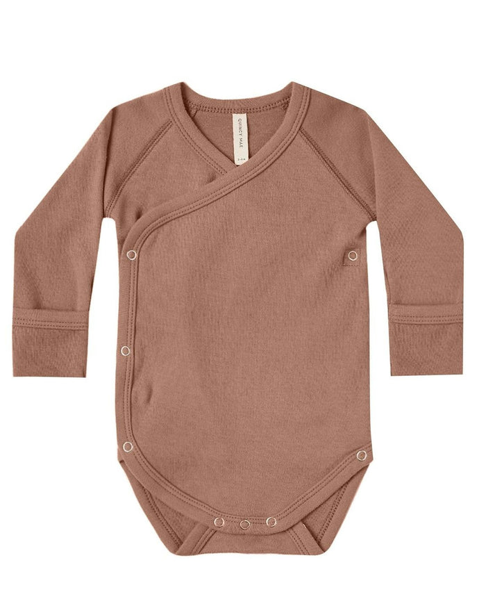 Little quincy mae baby girl kimono onesie in clay