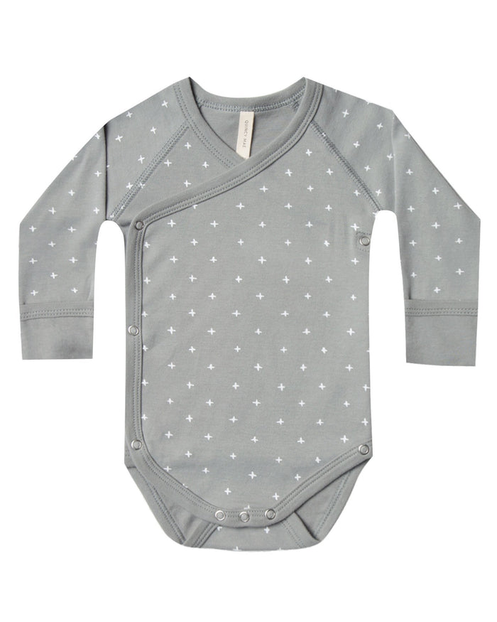 Little quincy mae baby girl kimono onesie in dusty blue