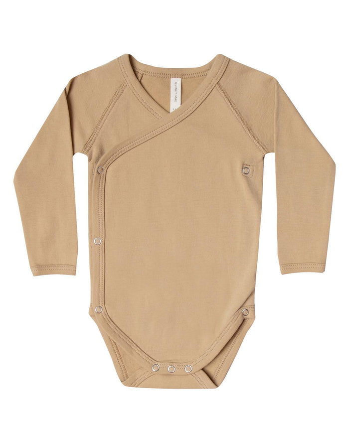 Little quincy mae layette 0-3 kimono onesie in honey