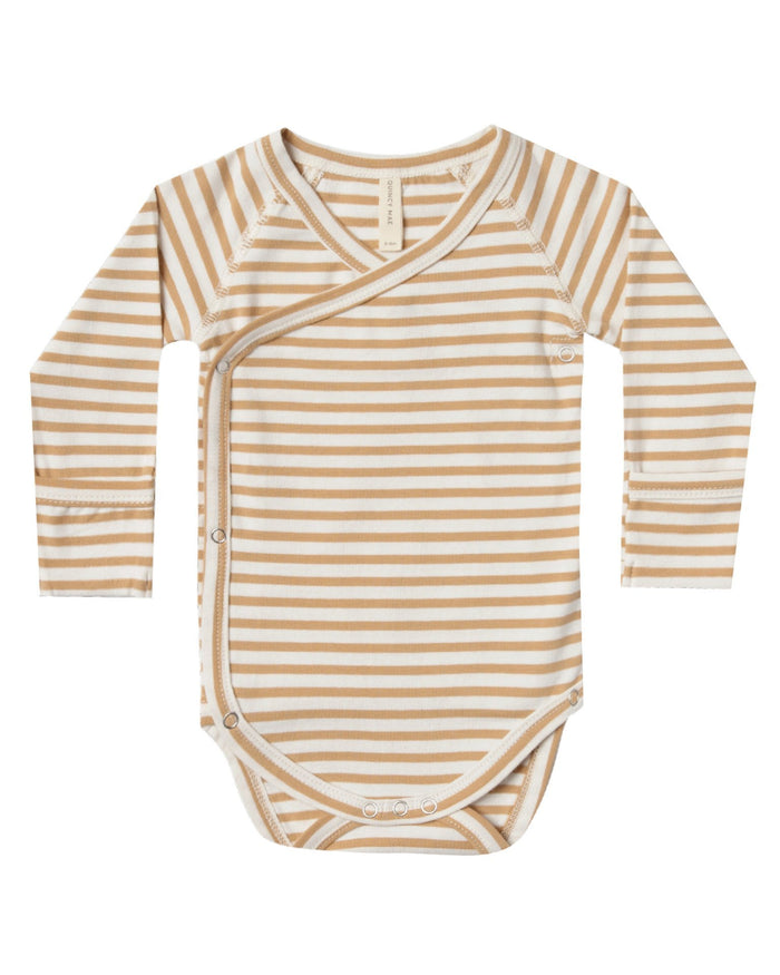 Little quincy mae baby girl kimono onesie in honey stripe