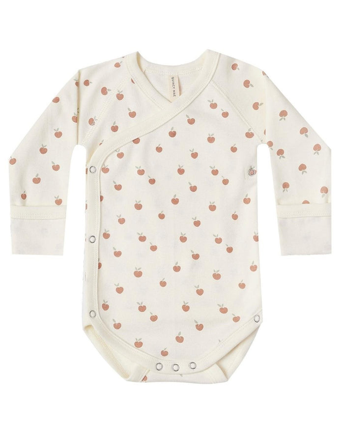Little quincy mae baby girl kimono onesie in ivory + peach