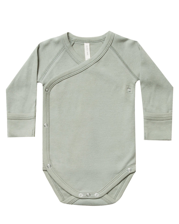 Little quincy mae baby girl kimono onesie in sage