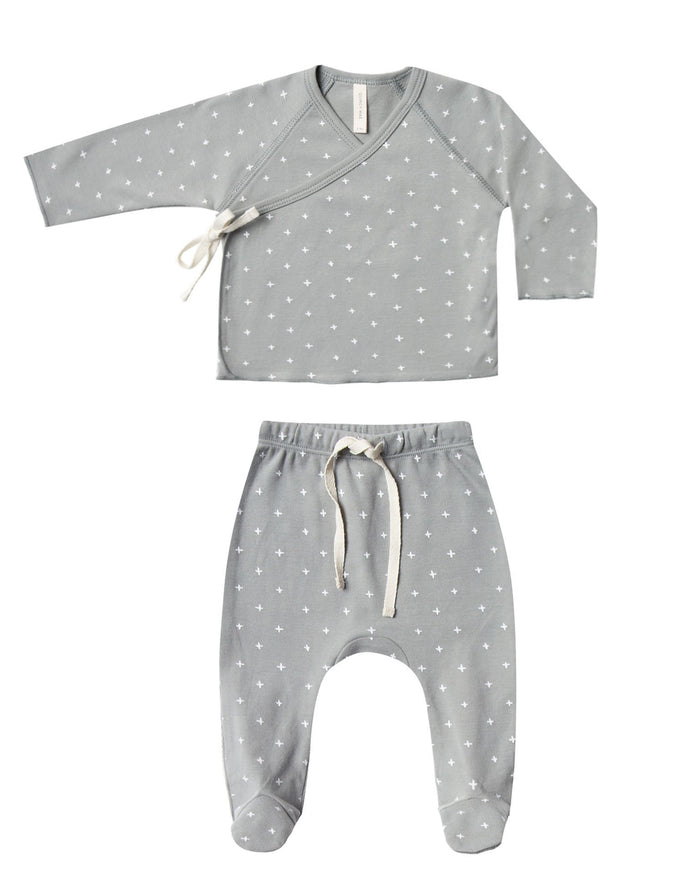 Little quincy mae baby girl kimono top + footed pant set in dusty blue
