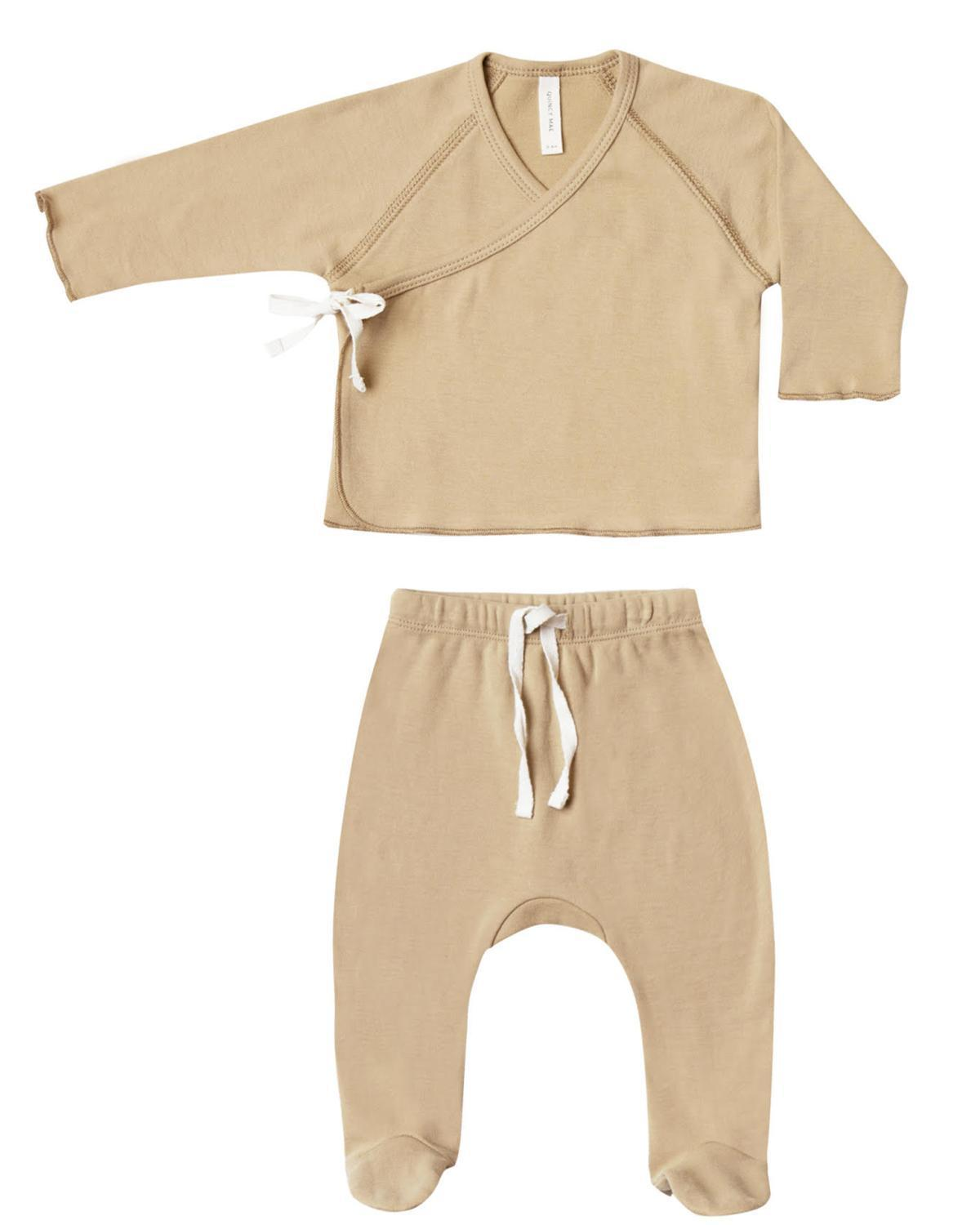 Little quincy mae layette nb kimono top + footed pant set in honey