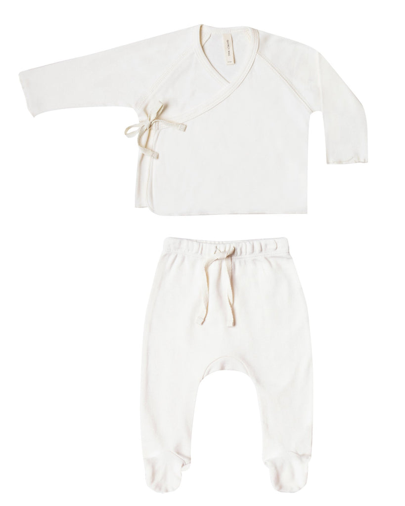 Little quincy mae baby girl kimono top + footed pant set in ivory
