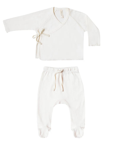 Little quincy mae layette nb kimono top + footed pant set in ivory