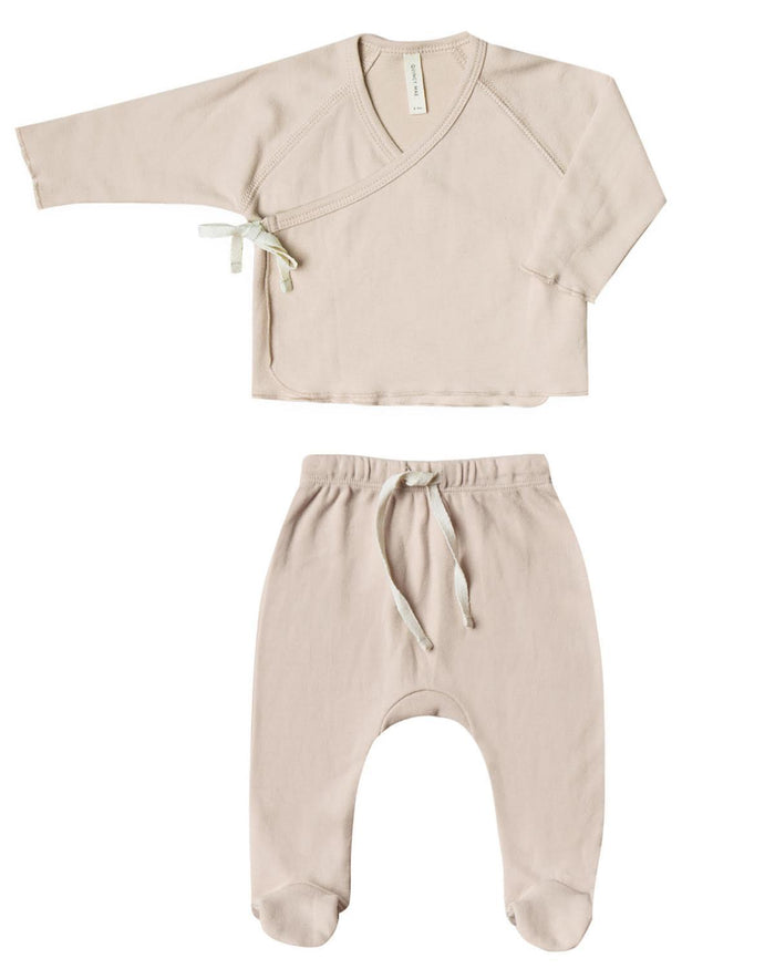 Little quincy mae layette nb kimono top + footed pant set in rose