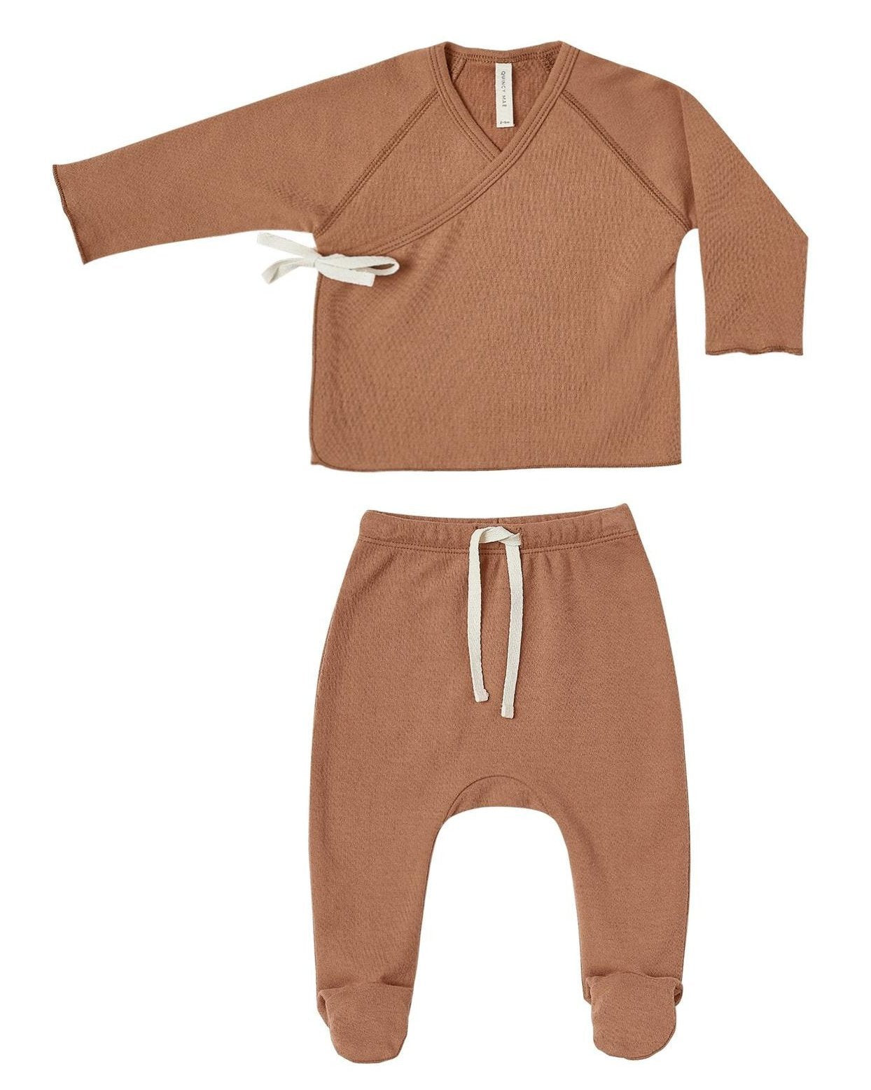 Little quincy mae baby girl kimono top + footed pant set in rust