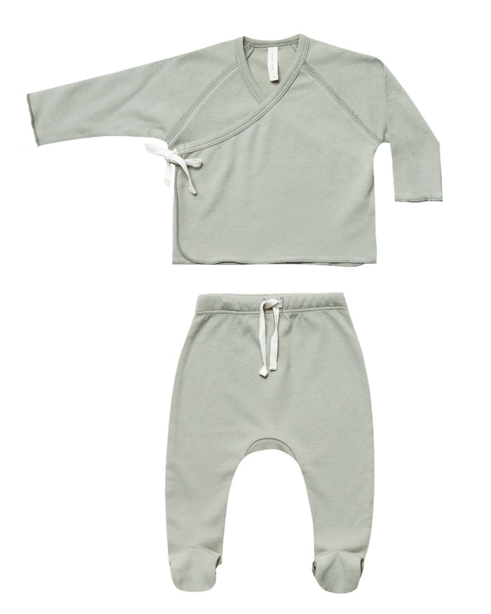 Little quincy mae baby girl kimono top + footed pant set in sage
