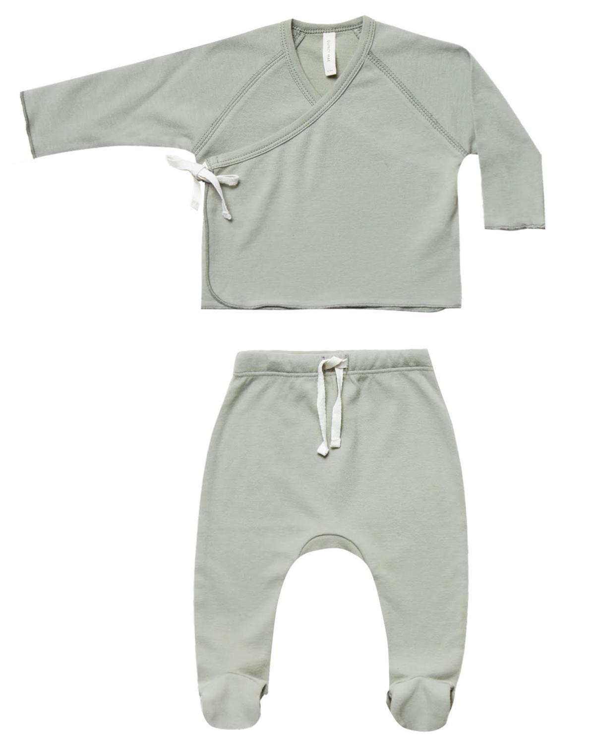 Little quincy mae layette nb kimono top + footed pant set in sage