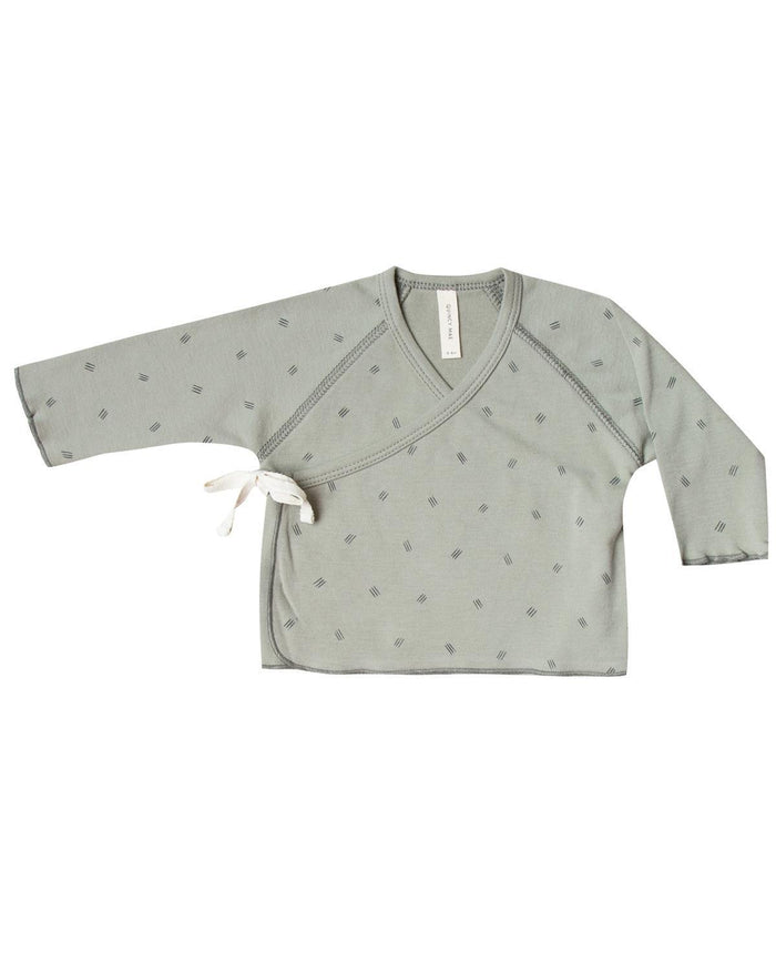 Little quincy mae layette 0-3 kimono top in sage