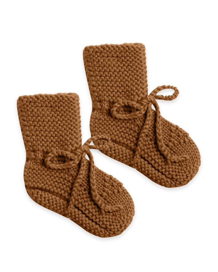 Little quincy mae baby accessories knit booties in walnut