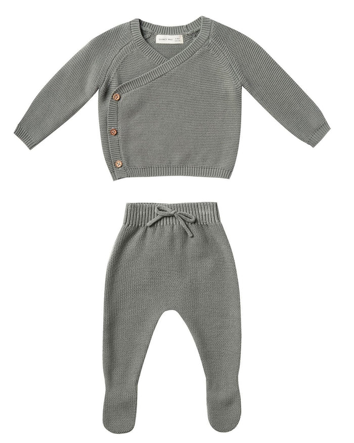 Little quincy mae layette knit kimono set in eucalyptus