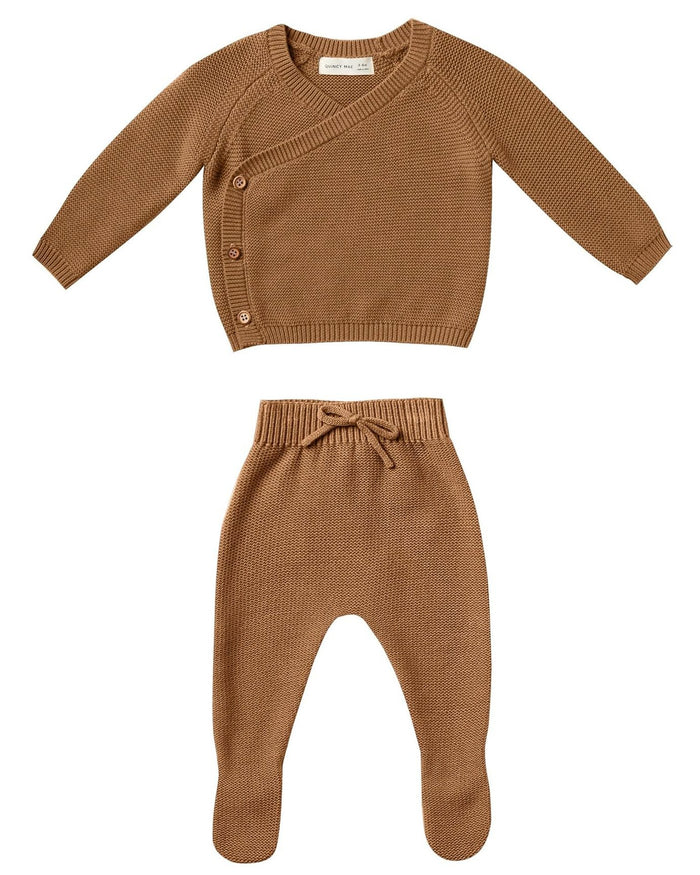 Little quincy mae layette knit kimono set in walnut
