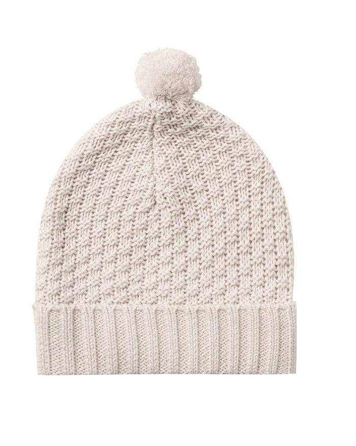 Little quincy mae accessories knit pom pom beanie in pebble