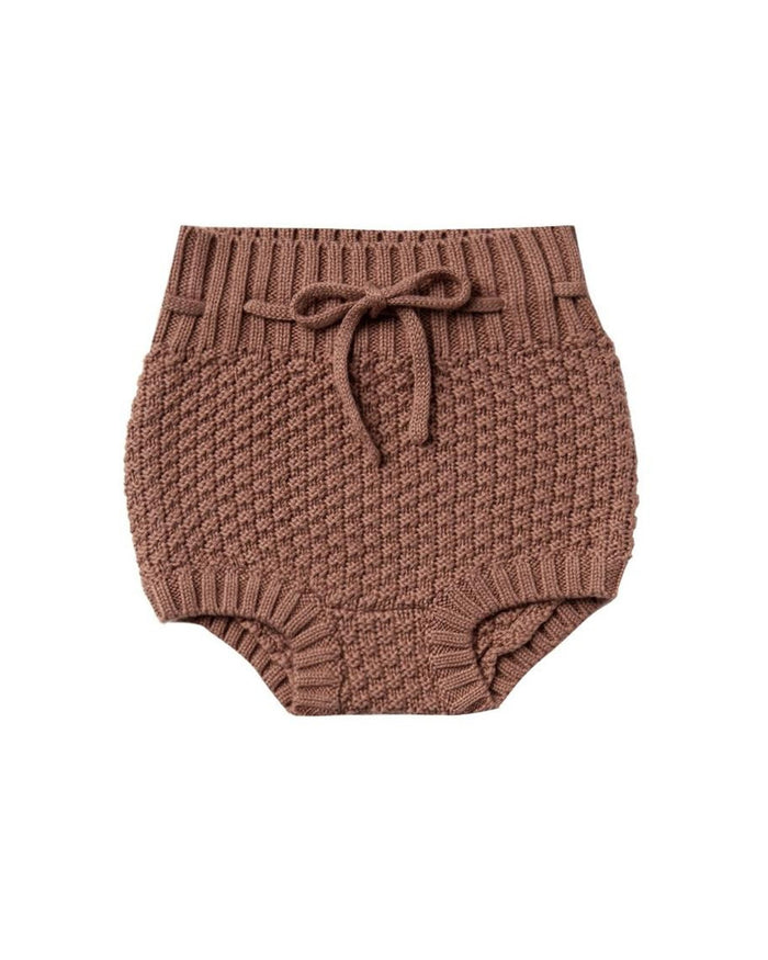Little quincy mae baby girl knit tie bloomer in clay