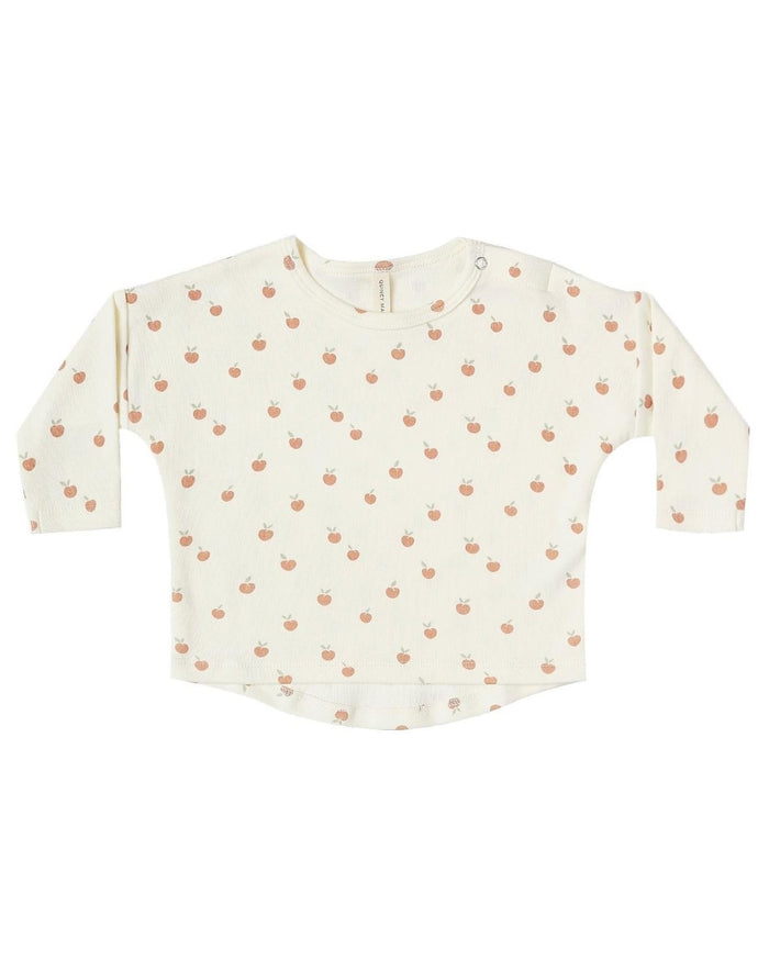 Little quincy mae baby girl long sleeve baby tee in ivory + peach