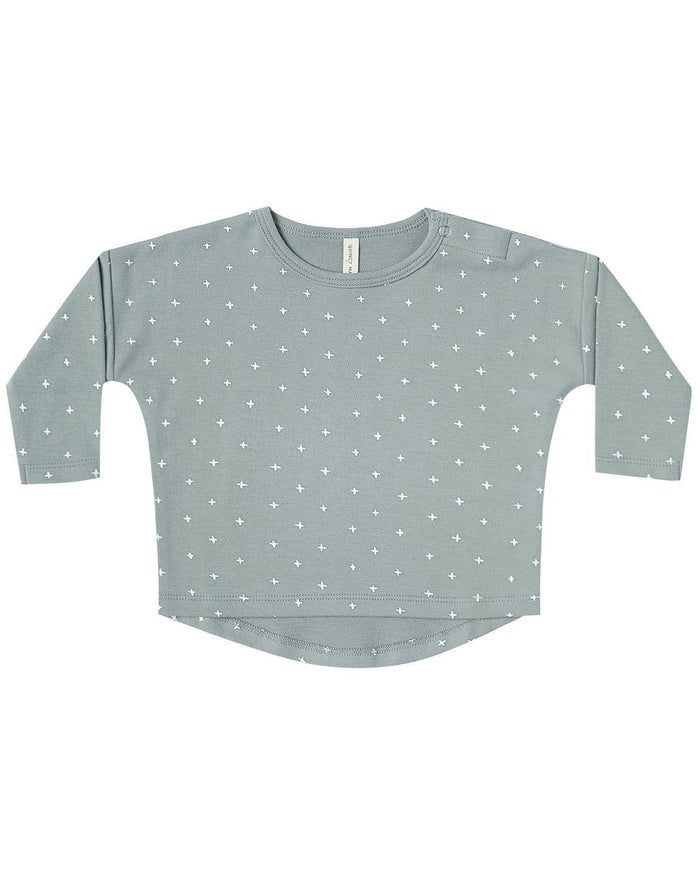 Little quincy mae baby girl long sleeve baby tee in ocean