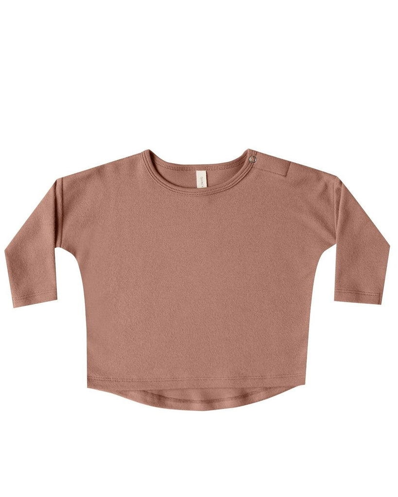Little quincy mae baby girl longsleeve baby tee in clay