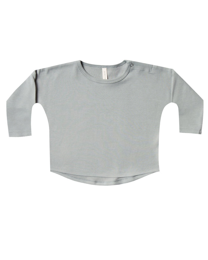 Little quincy mae baby girl longsleeve baby tee in dusty blue