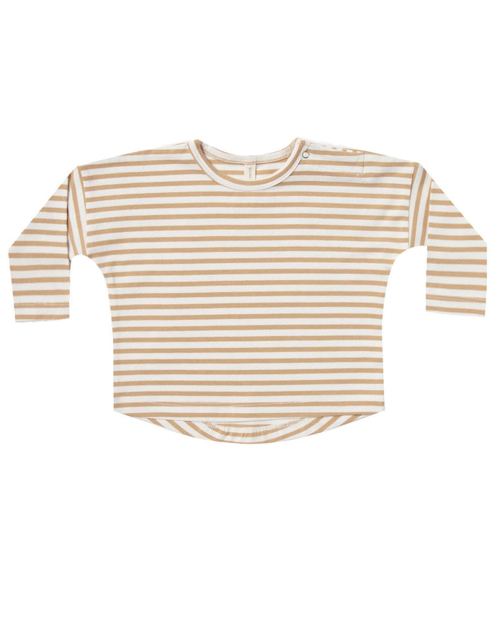Little quincy mae baby girl longsleeve baby tee in honey stripe