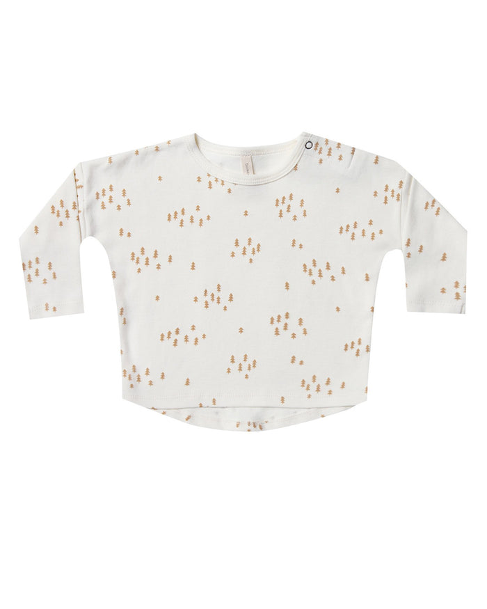 Little quincy mae baby girl longsleeve baby tee in ivory