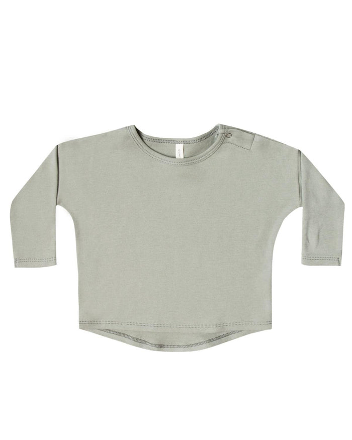 Little quincy mae baby girl 0-3 longsleeve baby tee in sage