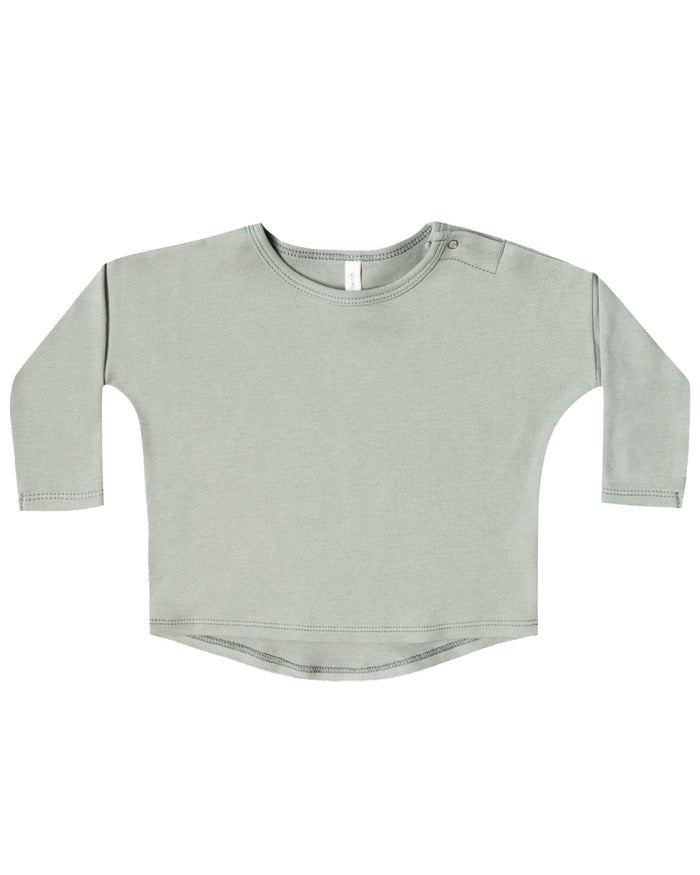 Little quincy mae baby girl longsleeve baby tee in sage