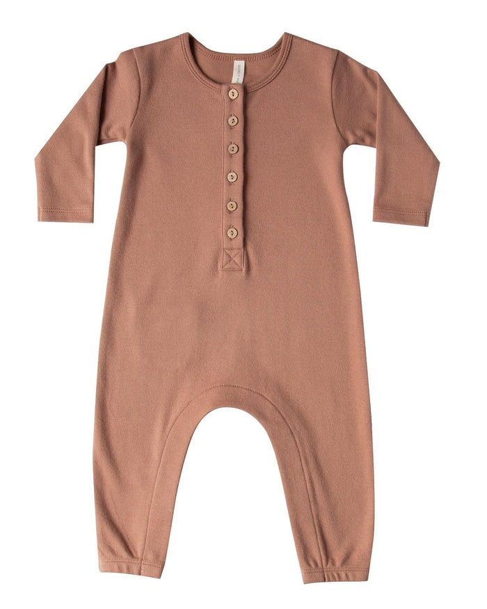 Little quincy mae baby girl longsleeve jumpsuit in clay