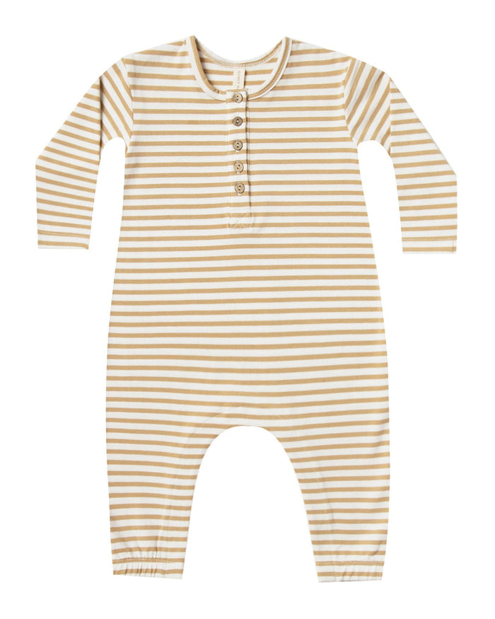 Little quincy mae baby girl longsleeve jumpsuit in honey stripe