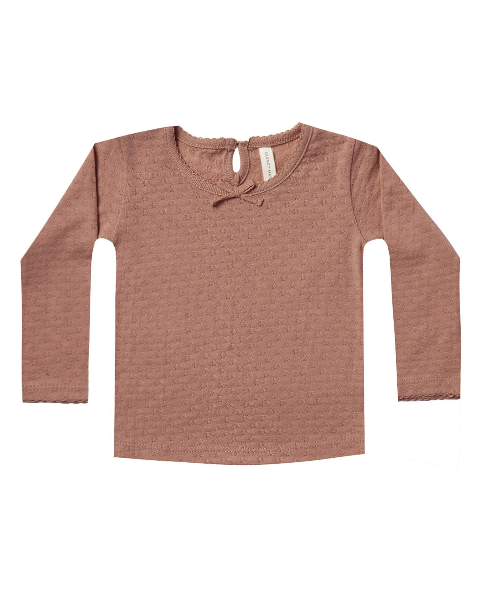 Little quincy mae baby girl longsleeve pointelle tee in clay
