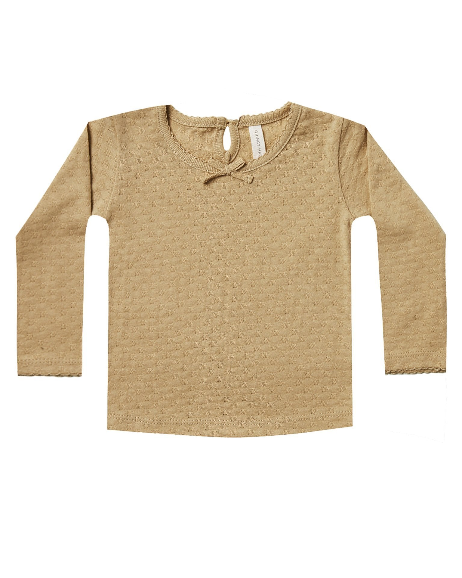 Little quincy mae baby girl longsleeve pointelle tee in honey