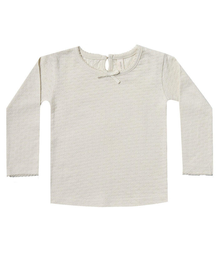 Little quincy mae baby girl longsleeve pointelle tee in pebble