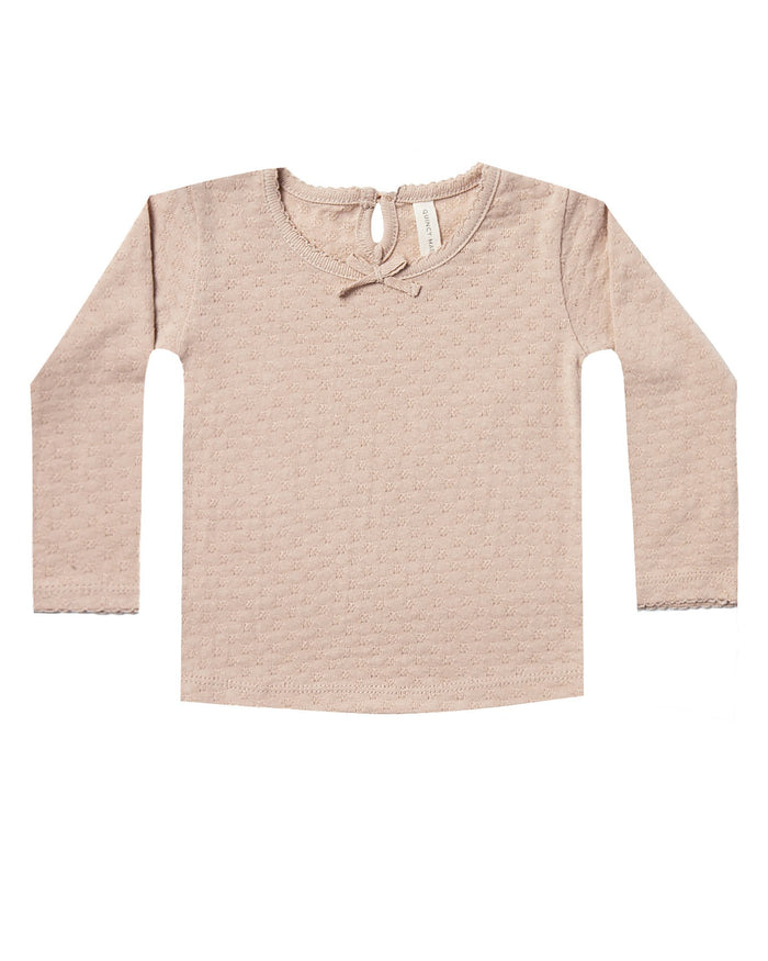 Little quincy mae baby girl longsleeve pointelle tee in rose