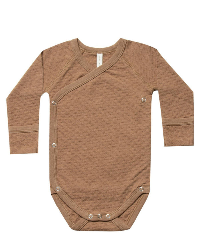 Little quincy mae baby girl nb pointelle kimono onesie in copper