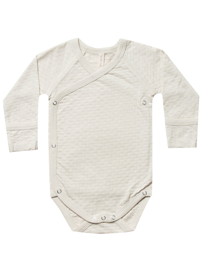 Little quincy mae baby girl pointelle kimono onesie in pebble