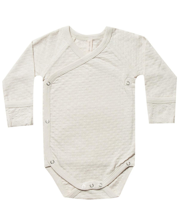 Little quincy mae baby girl nb pointelle kimono onesie in pebble
