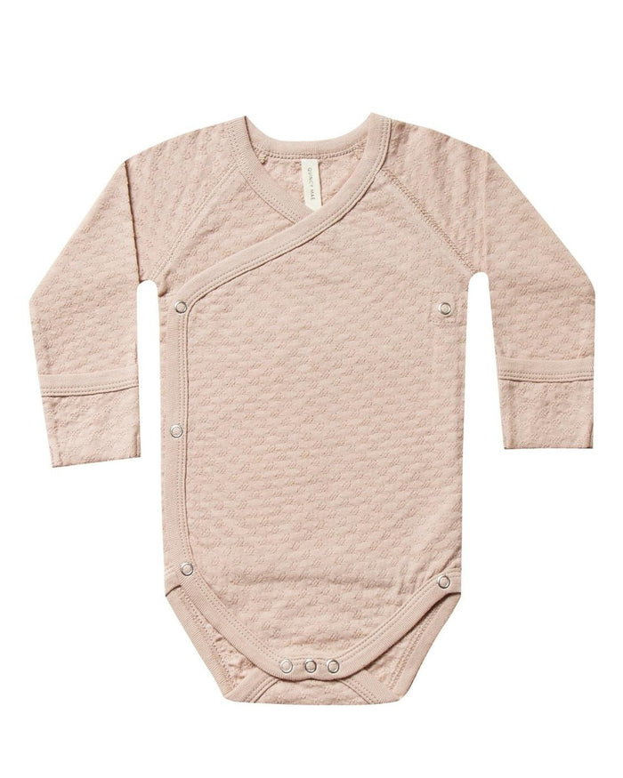 Little quincy mae baby girl pointelle kimono onesie in petal