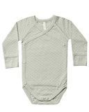 Little quincy mae baby girl pointelle kimono onesie in sage