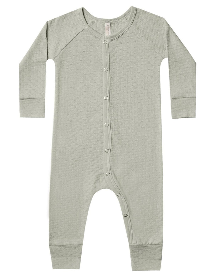 Little quincy mae baby girl pointelle long john in sage