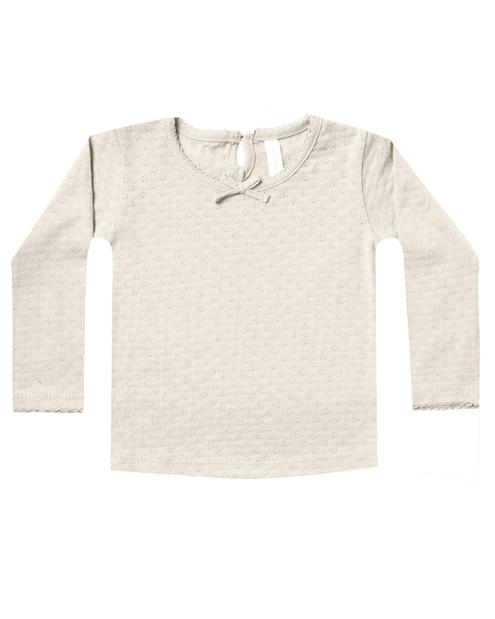Little quincy mae baby girl pointelle longsleeve tee in pebble